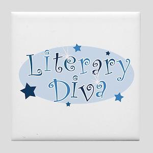 """Literary Diva"" [blue] Tile Coaster"